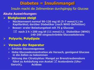 Diabetes = Insulinmangel