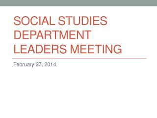 Social Studies Department Leaders Meeting