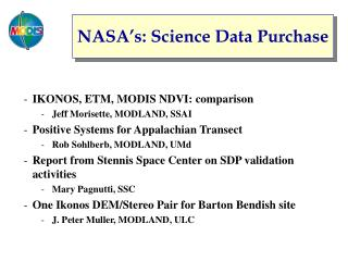 NASA's: Science Data Purchase
