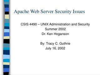 Apache Web Server Security Issues
