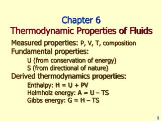 Chapter 6 Thermodynamic Properties of Fluids