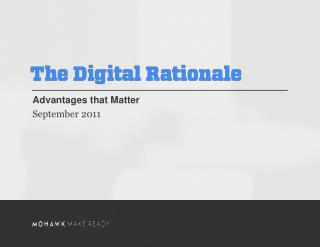 Advantages that Matter September 2011