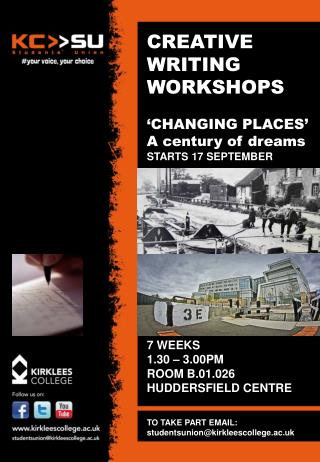 CREATIVE WRITING WORKSHOPS  'CHANGING PLACES' A century of dreams STARTS 17 SEPTEMBER