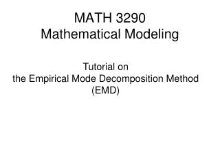 MATH 3290  Mathematical Modeling