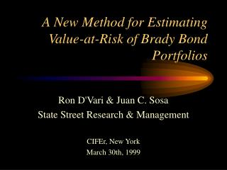 A New Method for Estimating Value-at-Risk of Brady Bond Portfolios