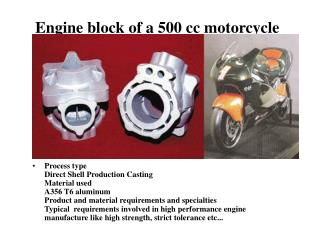 Engine block of a 500 cc motorcycle