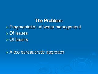 The Problem: Fragmentation of water management Of issues Of basins A too bureaucratic approach