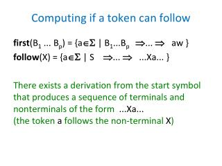 Computing if a token can follow