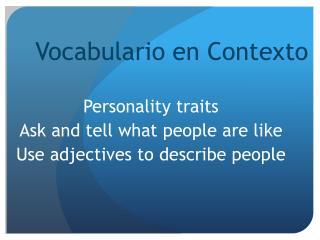 Vocabulario en C ontexto