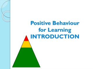 Positive Behaviour for Learning INTRODUCTION