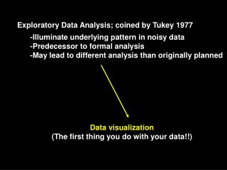 Exploratory Data Analysis; coined by Tukey 1977
