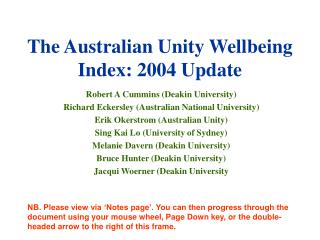 The Australian Unity Wellbeing Index: 2004 Update