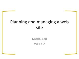 Planning and managing a web site