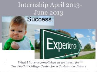 Internship April 2013-June 2013