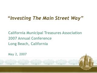 """Investing The Main Street Way"""