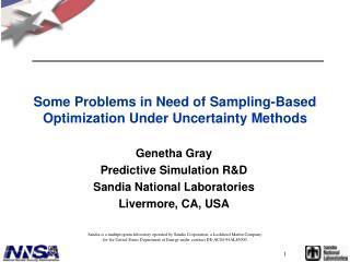 Some Problems in Need of Sampling-Based Optimization Under Uncertainty Methods