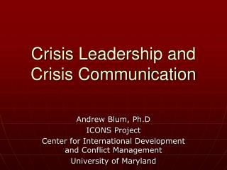Crisis Leadership and Crisis Communication