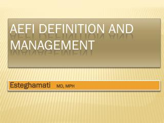 AEFI DEFINITION AND MANAGEMENT
