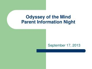 Odyssey of the Mind Parent Information Night