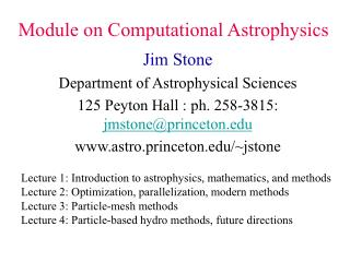 Module on Computational Astrophysics