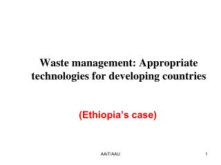 Waste management: Appropriate technologies for developing countries