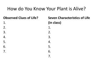 How do You Know Your Plant is Alive?