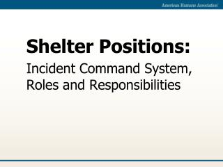 Shelter Positions: Incident Command System, Roles and Responsibilities