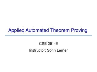 Applied Automated Theorem Proving