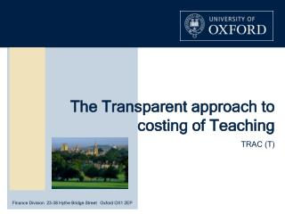 The Transparent approach to costing of Teaching