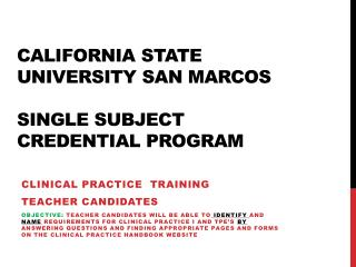 California State University San Marcos Single Subject  Credential Program