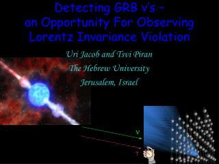 Detecting GRB  ν 's – an Opportunity For Observing Lorentz Invariance Violation