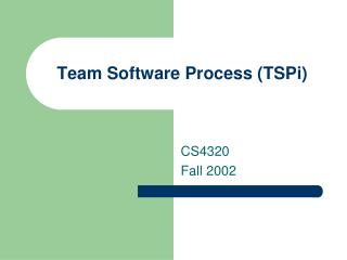 Team Software Process (TSPi)