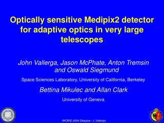 Optically sensitive Medipix2 detector for adaptive optics in very large telescopes