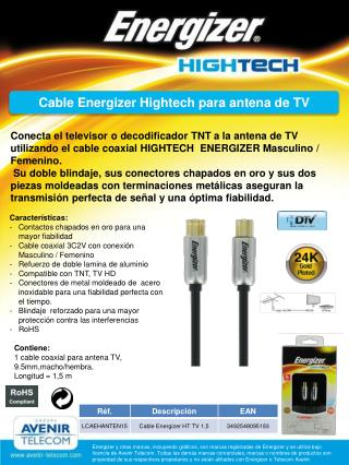 Cable Energizer Hightech para antena de TV