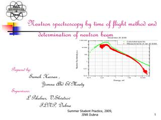 Neutron spectroscopy by time of flight method and determination of neutron beam