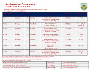 Burnley Football Club Academy Match Confirmation Form