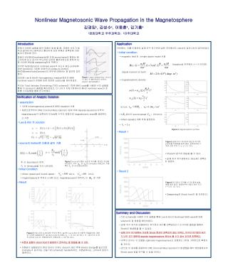 Nonlinear Magnetosonic Wave Propagation in the Magnetosphere 김경임 ¹ , 김성수 ¹ , 이동훈 ¹ , 김기홍 ²