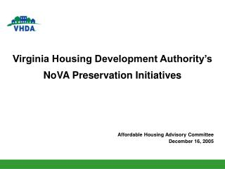 Virginia Housing Development Authority's  NoVA Preservation Initiatives