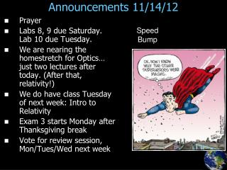 Announcements 11/14/12
