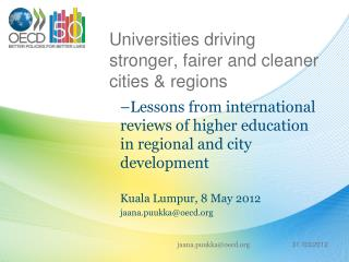 Universities driving stronger, fairer and cleaner cities & regions