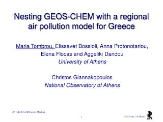 Nesting GEOS-CHEM with a regional air pollution model for Greece