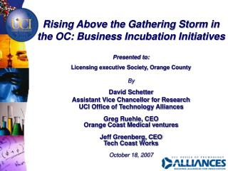 Rising Above the Gathering Storm in the OC: Business Incubation Initiatives Presented to: