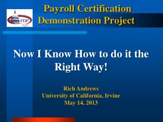 Payroll  Certification Demonstration Project