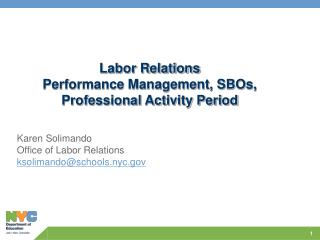 Labor Relations  Performance Management, SBOs, Professional Activity Period