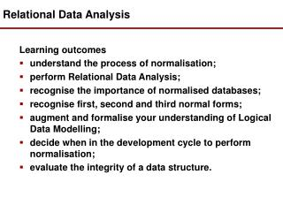 Relational Data Analysis