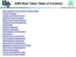 ANG Note Taker Table of Contents