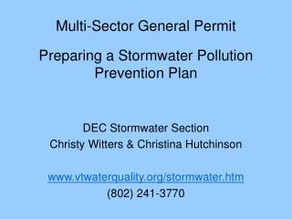 Multi-Sector General Permit   Preparing a Stormwater Pollution Prevention Plan