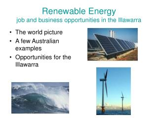 Renewable Energy  job and business opportunities in the Illawarra