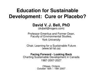 Education for Sustainable Development:  Cure or Placebo?