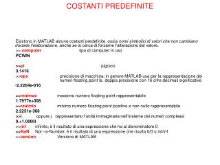 COSTANTI PREDEFINITE